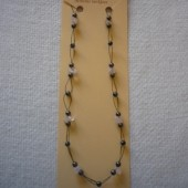 Hematit - Rózsakvarc fűzött nyaklánc