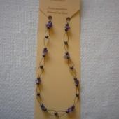 Hematit - Ametiszt fűzött nyaklánc