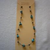 Hematit - Türkenit fűzött nyaklánc